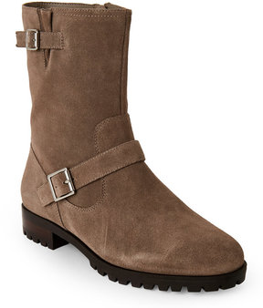 Tahari Winter Taupe Suede Buckle Boots