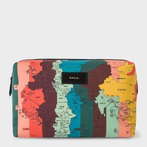 Paul Smith Men's Canvas 'Artist Stripe Map' Print Wash Bag