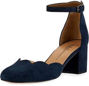Neiman Marcus Zehira Scallop Suede Sandal, Blue