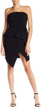 Adelyn Rae Strapless Asymmetrical Peplum Dress