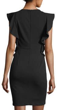 Donna Morgan Crepe Ruffle Sleeveless Dress