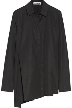Jil Sander Asymmetric Cotton-poplin Shirt - Black