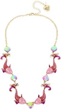 Betsey Johnson CRABBY COUTURE PINK FISH NECKLACE
