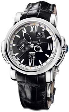 Ulysse Nardin GMT Perpetual Black DIal 18kt White Gold Black Leather Men's Watch 320-60-32