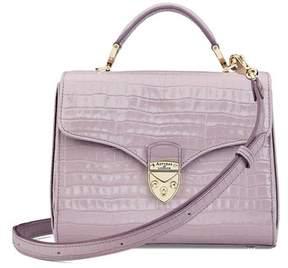 Aspinal of London | Midi Mayfair Bag In Deep Shine Lilac Small Croc | Deep shine lilac small croc