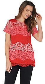 Isaac Mizrahi Live! Tri-Color Floral Lace Tunicwith Knit Back
