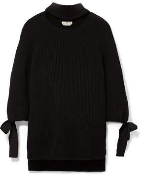 Fendi Cutout Bow-embellished Ribbed Cashmere Sweater - Black