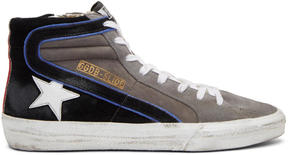 Golden Goose Deluxe Brand Grey Suede Slide High-Top Sneakers