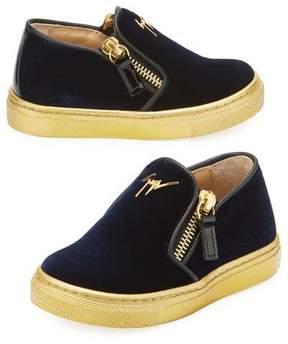 Giuseppe Zanotti Girls' London Laceless Velvet Low-Top Sneaker, Youth