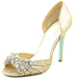 Betsey Johnson Gown Peep-toe Leather Heels.