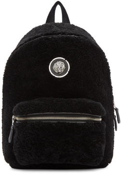 Versus Black Small Shearling Lion Medallion Backpack