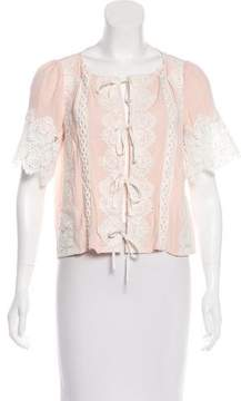 For Love & Lemons Embroidered Hayley Tie Front Top