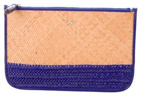 Anya Hindmarch Leather-Trimmed Straw Clutch