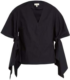 DELPOZO V-neck sleeve-tie cotton top