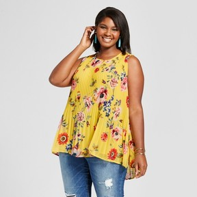 Ava & Viv Women's Plus Size Pleated Floral Shell Yellow
