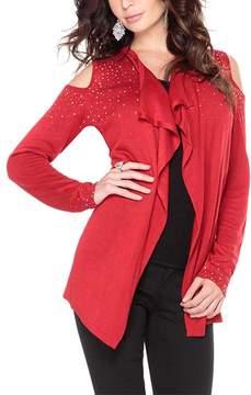 Belldini Red Drape Cold-Shoulder Open Cardigan - Women