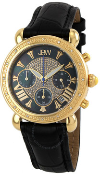 JBW Victory Diamond Bezel Chronograph Black Mother of Pearl Dial Black Leather Strap Ladies Watch