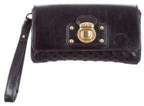 Marc Jacobs Quilted Leather Wristlet - BLACK - STYLE