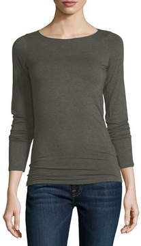 Neiman Marcus Majestic Paris for Soft Touch Marrow-Edge Long-Sleeve Top