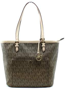 Michael Kors MICHAEL Womens Jet Set Leather Signature Tote Handbag (Mocha) - MOCHA - STYLE