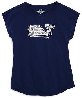 Vineyard Vines Girls' Etched-Whale-Print-Logo Tee - Little Kid