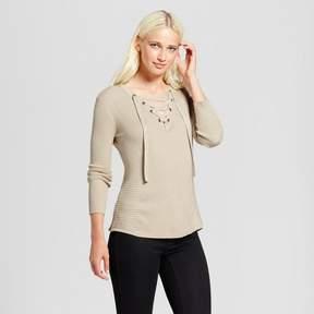 Cliche Women's Lace-Up Sweater Tan