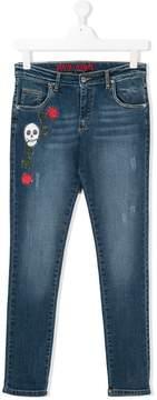 John Richmond Kids TEEN skull embroidered skinny jeans