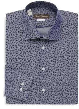 Hickey Freeman Floral Cotton Dress Shirt