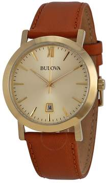 Bulova Dress Champagne Dial Brown Leather Unisex Watch