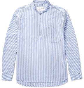 Our Legacy Shawl-Collar Striped Cotton-Blend Poplin Half-Zip Shirt