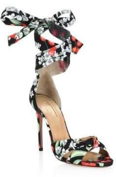 Aquazzura All Tied Up Floral Sandals