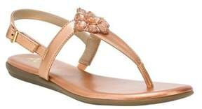 Aerosoles A2 By Women's Chlipper Thong Sandal Pink Metallic Faux Leather Size.