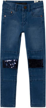 Ikks Blue Skinny Jeans with Sequin Knees