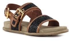 Car Shoe Women's Brown/black Glitter Sandals.
