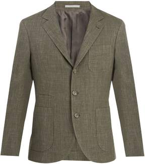 Brunello Cucinelli Single-breasted wool and linen blend blazer