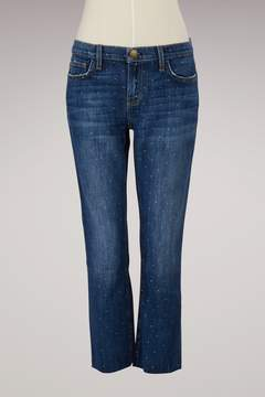 Current/Elliott Current Elliott Cropped straight-leg polka dot jeans