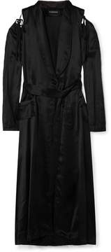 Ann Demeulemeester Convertible Belted Satin Coat - Black