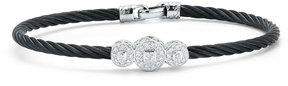 Alor Triple Pave Diamond Station Cable Bracelet, Black