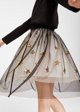 MANGO Star tulle skirt