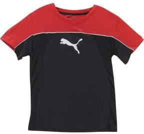 Puma Big Boy's V-Neck Cat Logo Black Short Sleeve T-Shirt