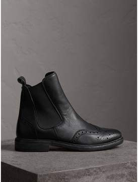Burberry Brogue Detail Textured Leather Chelsea Boots