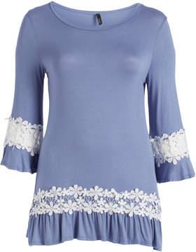Celeste Indigo Floral Lace-Accent Scoop Neck Tunic - Plus
