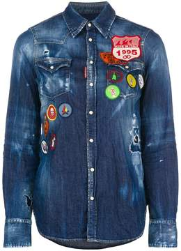 DSQUARED2 distressed denim patch shirt