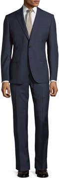 Neiman Marcus Herringbone Wool Two-Piece Suit, Navy