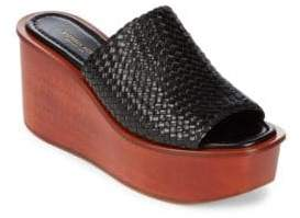 Michael Kors Jane Woven Leather Wedge Sandals