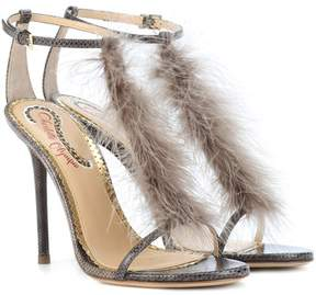 Charlotte Olympia Provocateur feather-trimmed sandals
