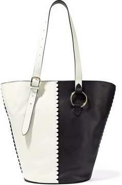 Diane von Furstenberg East/West Two-Tone Leather Bucket Bag
