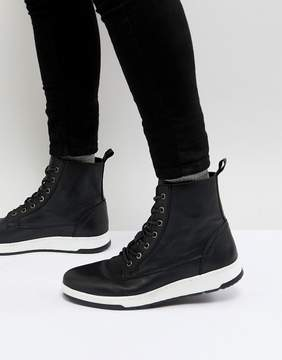 Asos Lace Up Boots In Black Leather With Contrast Sole