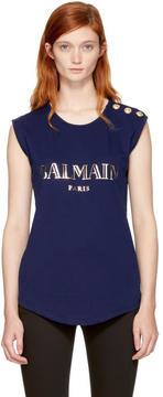 Balmain Navy Sleeveless Logo T-Shirt