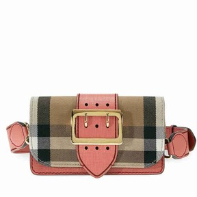 Burberry Small Buckle Bag in House Check and Leather - Cinnamon Red - ONE COLOR - STYLE